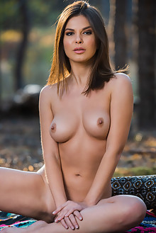 Zelda B in Isolate With Me by Karl Sirmi outdoor sunny woods brunette brown eyes boobies shaved pussy