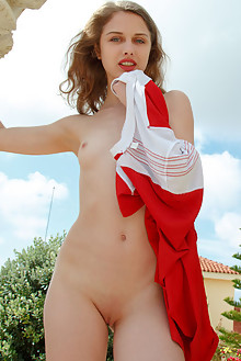 Clarice A in Beau Jeu by Rylsky outdoor sunny brunette blue eyes petite small tits wet pool shaved latest