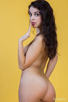evita lima alisan rylsky brunette hazel eyes indoor boobies