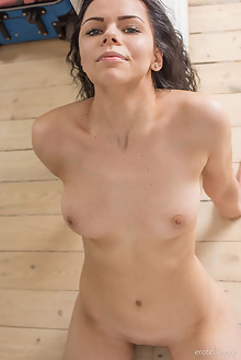 Milena E in Being Naked by Tora Ness indoor brunette black hair shaved pussy