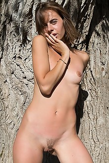 Gracie in Wild Rough by Marlene outdoor sunny woods brunette hazel eyes shaved pussy