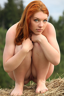 Presenting Amber A by Yann outdoor hay redhead blue eyes shaved pussy