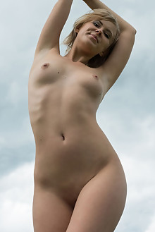 Casey in Cloudy Day by Tora Ness outdoor cloudy blonde brown eyes boobies shaved pussy custom
