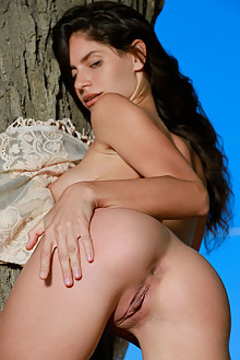 Yasmina in Timar by Matiss outdoor woods sunny brunette green eyes boobies shaved pussy ass